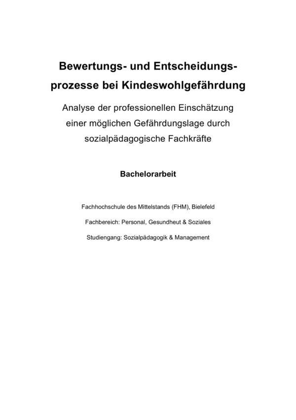 Deckblatt Bewertungs- und Entscheidungsprozesse bei Kindeswohlgefährdung